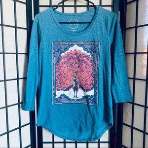 Lucky Brand peacock 3/4 sleeve blue shirt S